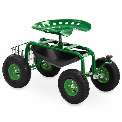 BCP Rolling Garden Work Seat w/ Tool Tray and Basket - Green
