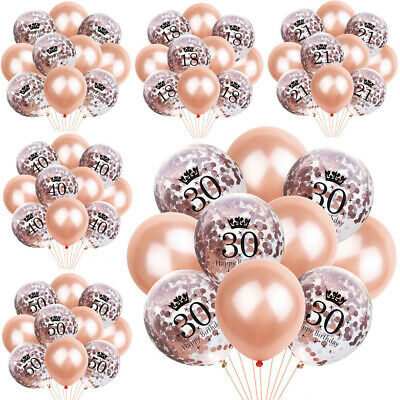 Rose Gold 18 21st 30 40 50 60th Happy Birthday Crown Balloons Party Decoration