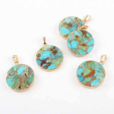5Pcs Gold Plated 20mm Round Geometric Copper Real Blue Turquoise Pendant BG1686