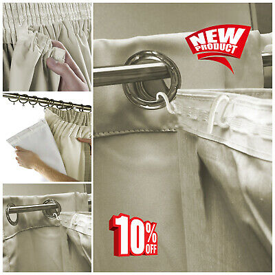 New Thermal Blackout Eyelet / Ring Top Ready Made 3 Pass White Curtain Lining