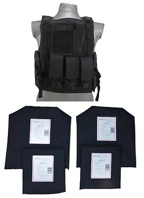 Tactical Scorpion Body Armor Bearcat Carrier + Level IIIA Soft Plates | Black