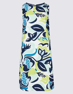 New M&S Collection Floral Blue Yellow White Linen Blend Tunic Dress Sz UK 6 8 24