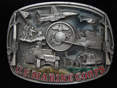 Pf07112 Vintage 1991 **United States Marines** Military Armed Forces Belt Buckle