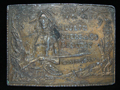 OB15140 VINTAGE 1970s **ADOLPH COORS & CO. BREWERY** BEER BRASSTONE BELT BUCKLE