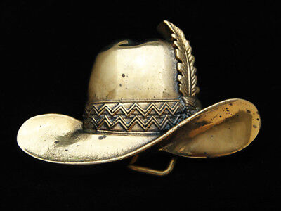 Oe01154 *Nos* Vintage 1980 **Cowboy Hat W/ Feather** Solid Brass Baron Buckle