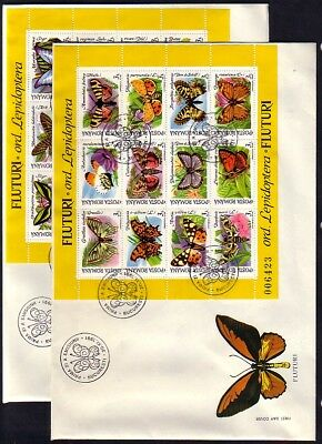 Romania, Scott cat. 3696-3697. 2 Butterfly sheets on 2 Large First day covers