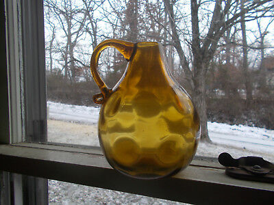 Clevenger Bros Amber Coinspot Pattern Pitcher Hand Blown Pontiled