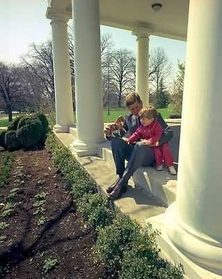 President John F. Kennedy plays with JFK Jr. outside Oval Office New 8x10 Photo