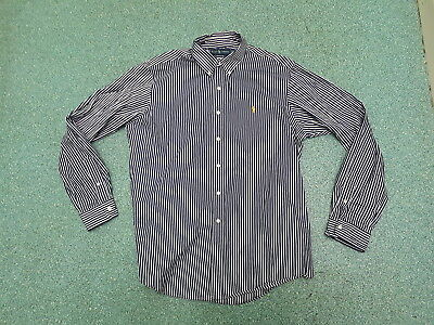 Ralph Lauren Extra Large Mens Custom Fit Blue & White Striped Casual shirt