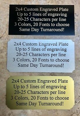 "2""x4"" Engraved BRASS Color Name Plate Plaque Art Label Tag Gift Trophy"