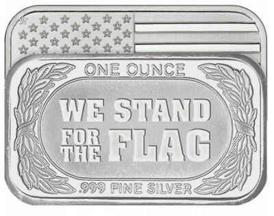 WE STAND FOR THE FLAG 1 oz. .999 FINE SILVER BAR Mint Sealed AMERICAN FLAG OUNCE