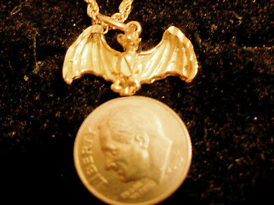 bling gold plated bat myth WITCH gothIC fashion pendant charm necklace JEWELRY
