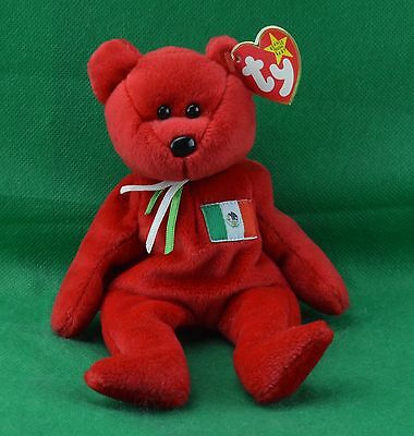 Osito TY Beanie Baby Red Mexico Mexican Flag Teddy Bear MWMT February 5 1999