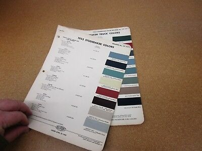 1953 Studebaker car truck pickup paint color chip chart sheet sample