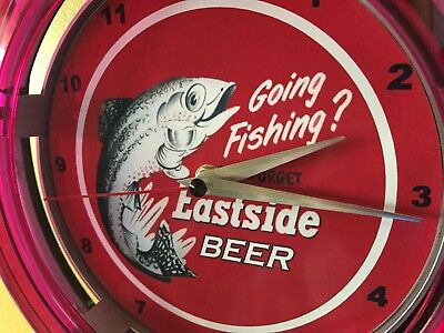 Eastside Fishing Beer Bar Advertising Man Cave Neon Wall Clock Sign