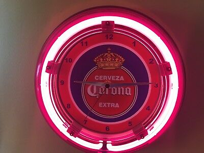 Corona Cerveza Old Logo Beer Bar Advertising Man Cave Neon Wall Clock Sign