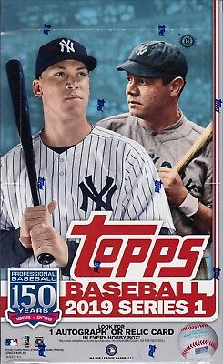 2019 Topps Series 1 Baseball sealed hobby box 24 pack 14 MLB cards & silver pack