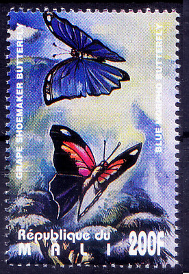 Mali 1995 MNH, Blue Morpho & Grape Shoemaker Butterflies, Insects  (X8n)