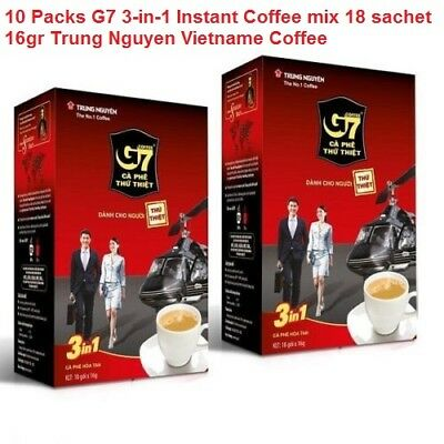 10 Pack G7 3-in-1 Instant Coffee mix 18 sachet 16gr Trung Nguyen Vietname Coffee