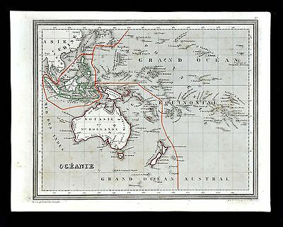 1835 Monin & Fremin Atlas Map - Oceania Australia New Zealand Hawaii East Indies