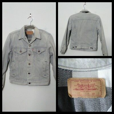 Levi's Vintage Denim Jacket Youth Lg. 1980's Gray Denim, Lined Inv#S9219