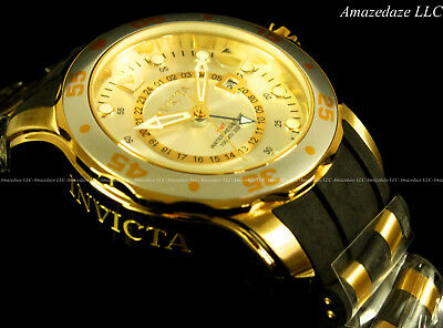 Invicta Men ProDiver Scuba Swiss GMT Silver Dial 18K Gold Plated Stainless Watch