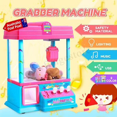 Mini Doll Toy Claw Machine Arcade Game Candy Catch Grabber With LED Lights Music