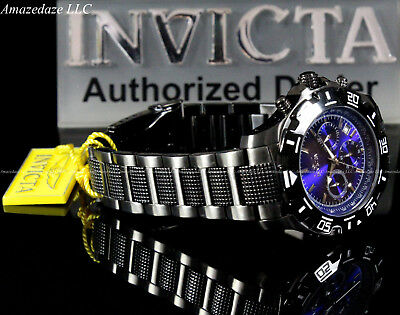 NEW Invicta Mens Gun Metal Stainless St. VD53 Chronograph Python Blue Dial Watch