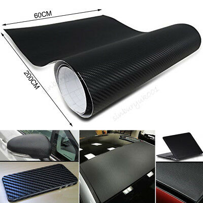 2m 3D Carbon Fiber Vinyl Wrap Sticker Roll Film Decals Car Home Wallpaper Black