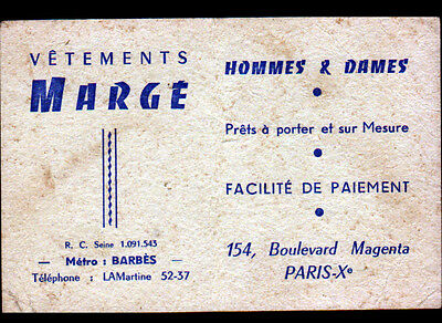 PARIS X CONFECTION MODE VETEMENTS MARGE Carte De Visite