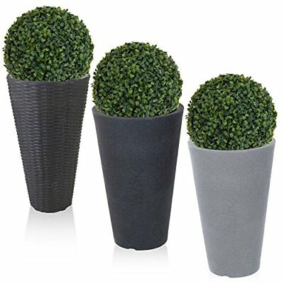 rond plante pot de fleur effet pierre rotin artificiel boule plante jardin sceau eur 35 82. Black Bedroom Furniture Sets. Home Design Ideas