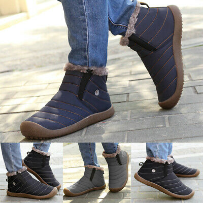 Mens Waterproof Slip On Ankle Boots Fur Winter Warm Thermal Snow Shoes Size UK