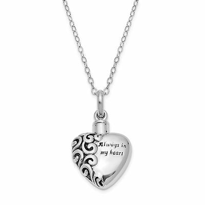 Sterling Silver Antiqued Heart Remembrance Ash Holder 18in Necklace QSX173