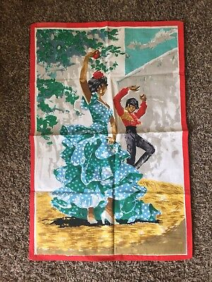 Vintage Spanish Screen Print Art Flamenco Dancer Cloth Print Spain