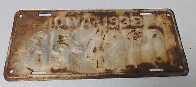 1938 Iowa passenger car license plate