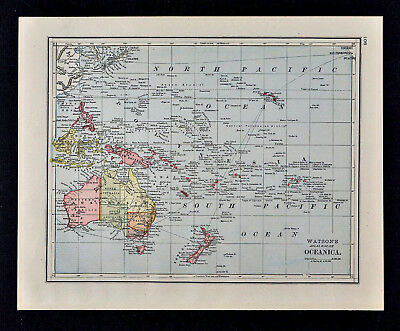 1885 Watson Map - Oceanica - Oceania Australia New Zealand Hawaii Fiji Tahiti
