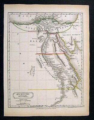 1844 Hall Map  Ancient Egypt - Nile Delta Thebes Africa