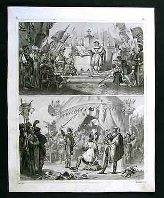 1849 Antique Engraved Print Medieval View Knights