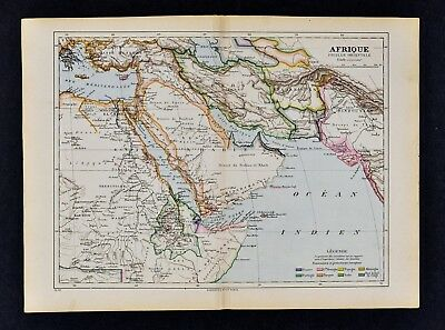 1885 Cortambert Map - Africa Middle East Egypt Arabia Persia Iran Turkey Mecca