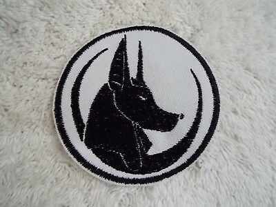"Egyptian God ANUBIS Doberman Head 3-5/8"" Embroidery Iron-on Custom Patch (E16)"