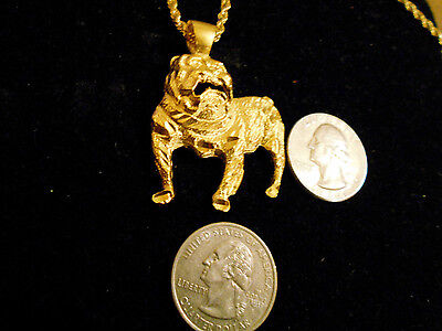 bling gold plated bulldog SPORTS ANIMAL PENDANT charm hip hop necklace JEWELRY