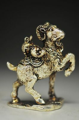 RARE CHINESE SILVER COPPER HANDMADE GOAT STATUE COLLECTION st338