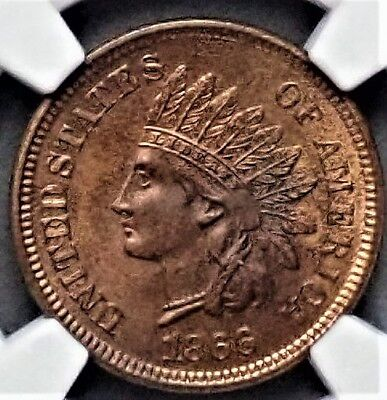1866 1C Indian Head Cent NGC MS 63 RB A Lower Pop Coin