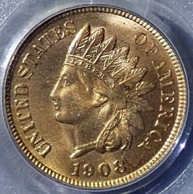 1908 Indian Head 1c Cent PCGS MS65 RD Red ONLY 110 Graded Higher Registry Coin