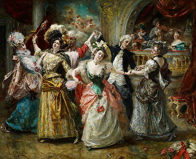 Giclee Print Gorgeous Palace Dance Scene Oil painting HD Printed on canvas P734