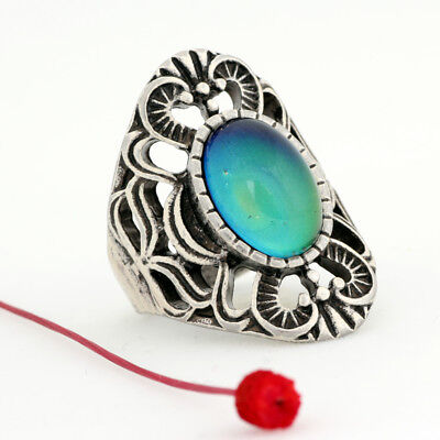 Popular Womens Hot Sale Real Silver Plated Ring 12 Color Change Mood Stone Ring