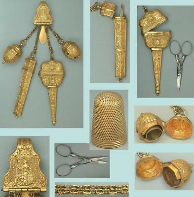 Antique Pinchbeck Sewing Chatelaine * English * Circa 1740