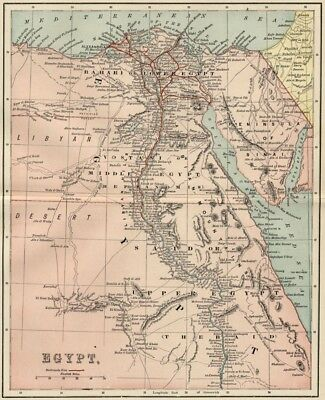 Egypt Map: Authentic 1891 Detailed with Railroads, Suez Canal; Topography