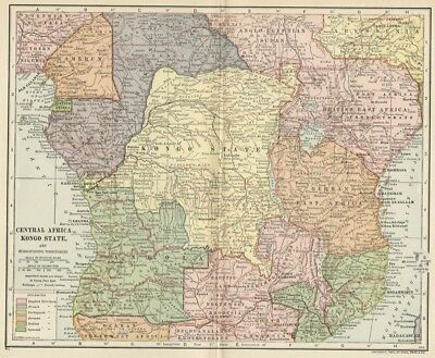 Central Africa: Congo Free State + Europe Possessions; 1907 (Dated) Cities, Topo