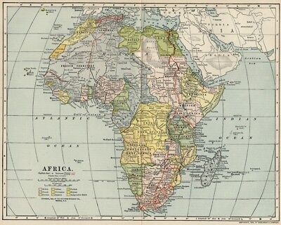 Africa Continent Map:Authentic 1902 (Dated) Interesting Borders & Bygone States